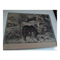 "Currier and Ives 19th century American lithograph print ""The Straw-Stable in Winter"""