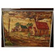 Southwestern art regionalist style landscape painting signed DeShazo circa 1960s