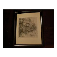 "EUGENE FRANDZEN (1893-1972) California listed art pencil signed lithograph print ""Old Curiosity Shops New York"""