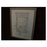 Vintage American watercolor painting Federal style gilt mirror with flowers in a vase