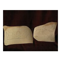 PAIR of circa 1840's American school children hand drawn maps of New York State and Pennsylvania