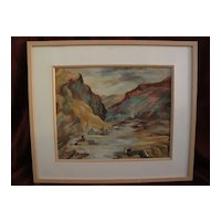 ANNA WILSON signed gouache plein air painting of Calico California ghost town