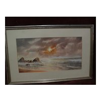 DAVID JOHN GUE (1836-1917) watercolor marine coastal painting by well listed American artist