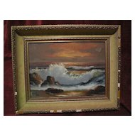 ROBERT WEE (1927-) California plein air art oil painting of coastal waves at sunset