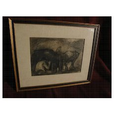 EUGENE HIGGINS (1874-1958) American Ash Can School art charcoal drawing from his estate