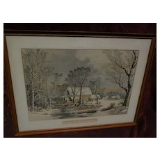 "CURRIER & IVES American print making later restrike of ""Winter in the Country"""