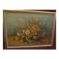 Vintage California still life painting of poppies in vase by listed artist