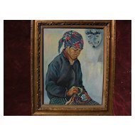 Southeast Asian art colorful signed painting of a young man in ethnic clothing with ethnic mask