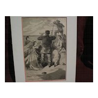 "WINSLOW HOMER (1836-1910) original wood engraving 1863 print ""Approach of the British Pirate Alabama"""