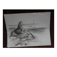 DAISY MARGUERITE HUGHES (1882-1968) charcoal sketch of small boat anchorage probably Cape Cod Massachusetts
