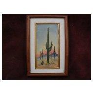 Southwestern American art small painting of saguaro cacti in Arizona