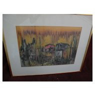 Modern Jewish art semi abstract large 1962 signed watercolor painting signed BENAROYA