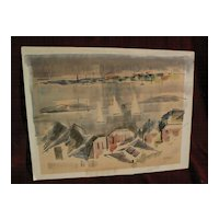 ALFRED BIRDSEY (1912-1996) Bermuda art original modernistic watercolor painting