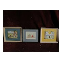 WINNIE THE POOH **SET OF THREE** original ink and watercolor drawings by Margaret Inman-Kane