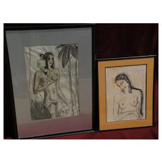BORIS LOVET-LORSKI (1894-1973) **PAIR** of original charcoal drawings of stylized women in Art Deco style
