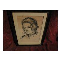 JOSEF FLOCH (1895-1977) signed original charcoal portrait drawing by important Austrian American artist
