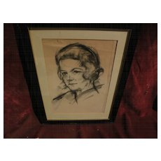 JOSEF FLOCH (1895-1977) signed original charcoal portrait drawing by important Austrian American artist