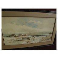 American primitive 19th century coastal watercolor winter landscape with figures