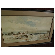 American primitive 19th century coastal watercolor winter landscape with figures
