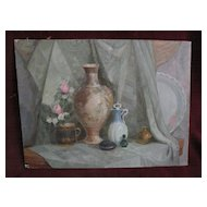 Beautifully executed Russian 1996 still life painting on board signed
