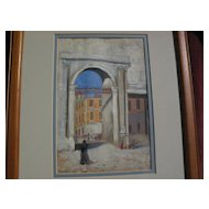 Vintage signed 19th century gouache on paper drawing of Spain