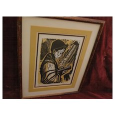 IRVING AMEN (1918-) original limited edition pencil signed woodblock print by noted Jewish American artist