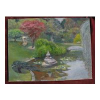 Decorative impressionist painting of a Japanese style pond in a park