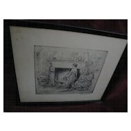 EDWILL FISHER (1896-) American art circa 1930 pencil signed etching of figures in an interior by a hearth