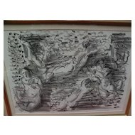 "RAOUL DUFY (1877-1953) ""Six Baigneuses"" circa 1925 original lithograph print pencil signed by the artist"