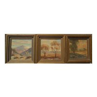 THREE California art miniature oil landscape paintings by VERNE of Laguna Beach
