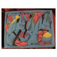 Haitian Art colorful signed naive folk art painting