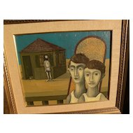 DAN KEDAR (1929-2008)  Israeli modern art surrealist painting dated 1968