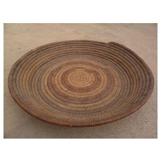 Hand made woven basket origin possibly West Africa