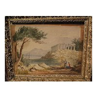 Antique watercolor painting of Greek or Roman temple in Mediterranean landscape