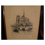 CAROLINE ARMINGTON (1875-1939) pencil signed original limited edition etching of Notre Dame cathedral in Paris