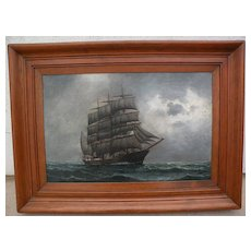 Marine art fine oil painting of a clipper ship on the high seas