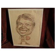 Original circa late 1970's JIMMY CARTER political cartoon drawing signed Jon Pearson