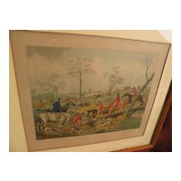 19th century English colored engraving of hunting scene with hounds and horsemen after HENRY ALKEN