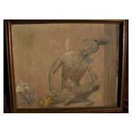 MARY C. PETERSON (1886-1967) impressionist 1931 painting of Buddha figure by Illinois listed artist