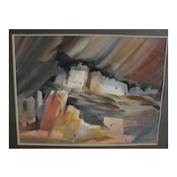 ROY E. SWANSON Southwest American art original watercolor painting of Mesa Verde Cliff ruins in Colorado