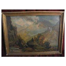 """THOMAS MORAN (1837-1926) original chromolithograph print of 1874 """"The White Mountains"""""""