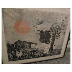 WALTER WILLIAMS (1920-1988) African-American art signed original early color woodblock print