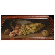 American still life pastel drawing of bananas peaches and bowl circa 1900