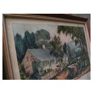 """Currier and Ives American lithograph hand colored 1872 print """"The Old Oaken Bucket"""""""