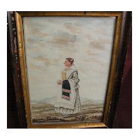 American folk art circa 1840 original watercolor and ink drawing of a lady in a landscape