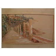 Signed watercolor drawing of Amalfi coast scene in Italy