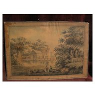 Signed 18th century English antique watercolor landscape painting men fishing on a pond