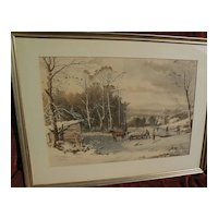 "CURRIER & IVES large hand colored restrike print circa 1953 of popular ""Winter in the Country"""
