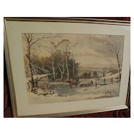 """CURRIER & IVES large hand colored restrike print circa 1953 of popular """"Winter in the Country"""""""