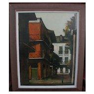 DELL WELLER (1927-) Louisiana art New Orleans street scene painting